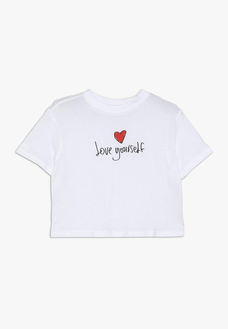 Mister Tee - KIDS LOVE YOURSELF CROPPED TEE - Print T-shirt - weiß