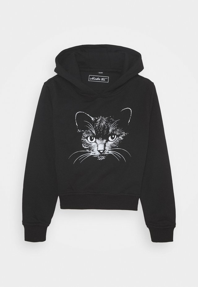 KIDS CAT CROPPED HOODY - Kapuzenpullover - black