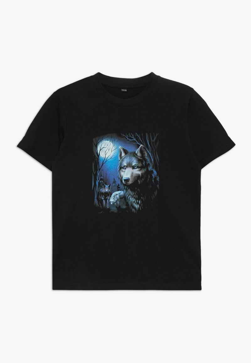 Mister Tee - KIDS WOLF TEE - T-Shirt print - schwarz