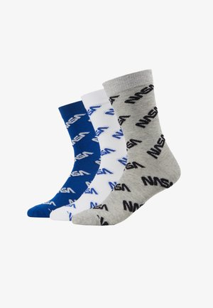 NASA ALLOVER SOCKS 3 PACKS - Chaussettes - blue/grey/white