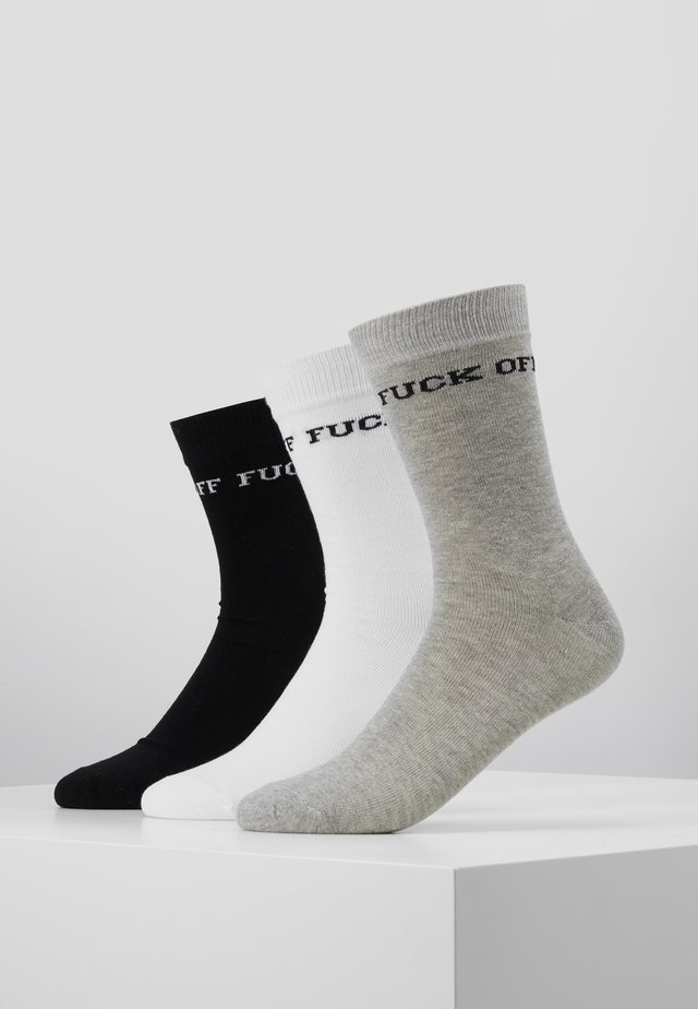 FUCK OFF SOCKS 3 PACK - Sokker - black/grey/white