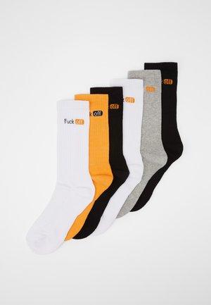 6 PACK - Ponožky - black/white/grey/neonorange