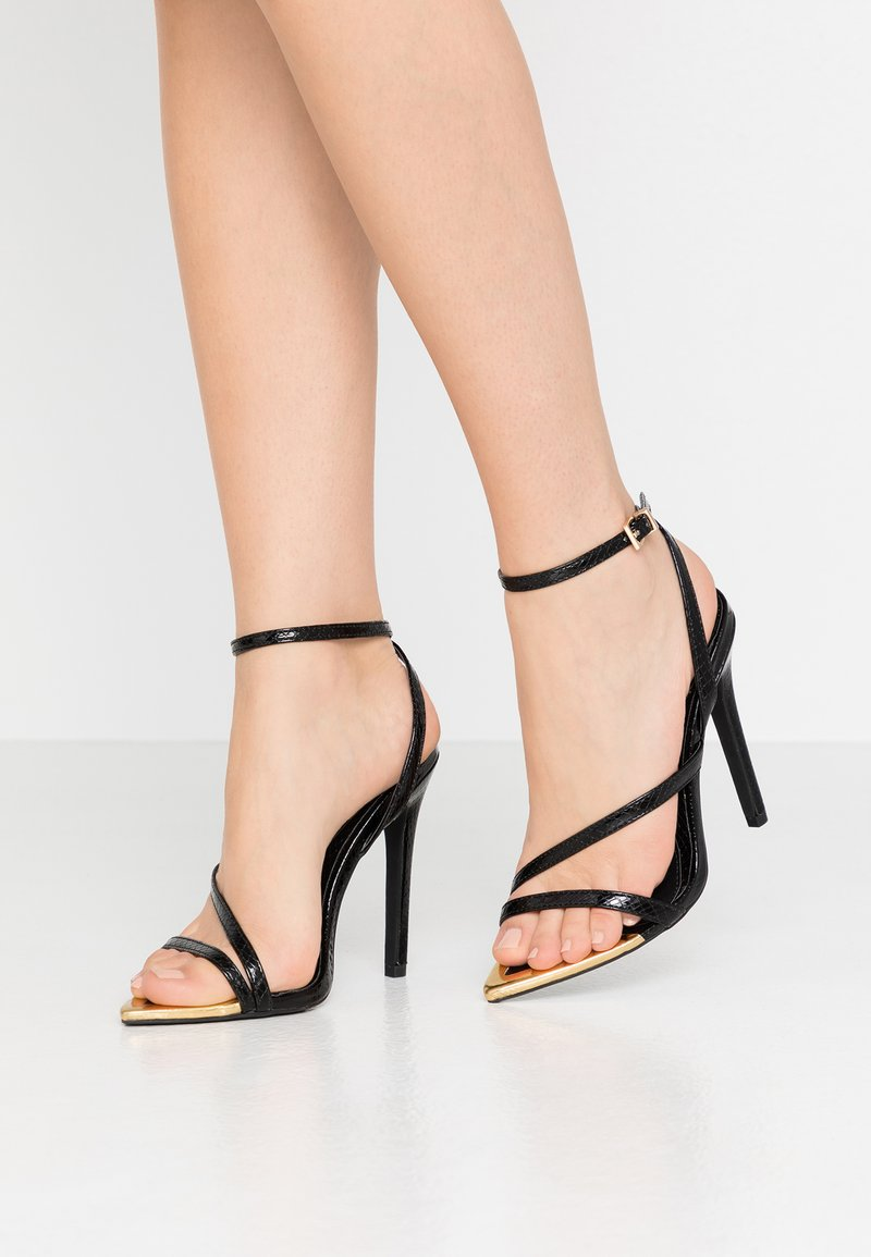 Missguided - TOE CAP STRAPPY BARELY THERE CROC - High heeled sandals - black