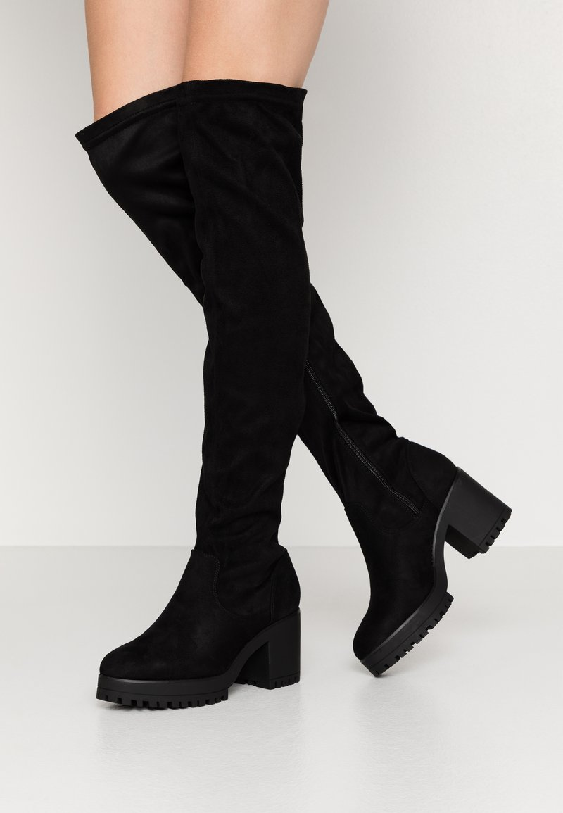 Missguided - CHUNKY HEEL BOOT - Over-the-knee boots - black