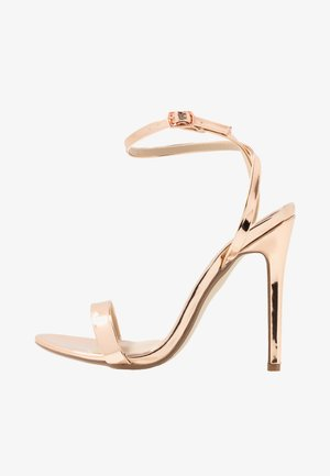 BASIC BARELY THERE - Sandaler med høye hæler - rose gold metallic