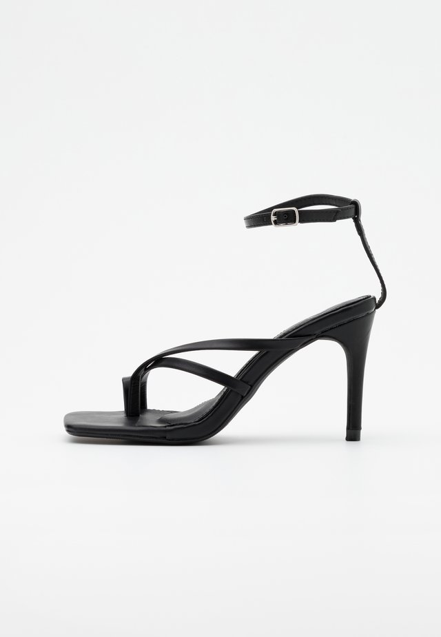 CROSS TOE POST LOW - High heeled sandals - black