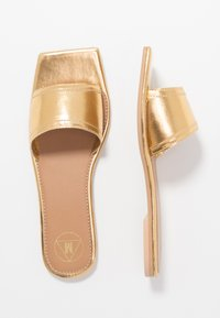 Missguided - SQUARE TOE SIMPLE STRAP FLAT  - Mules - gold - 3