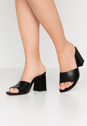 CHUNKY SQUARE FRONT MULE - Heeled mules - black