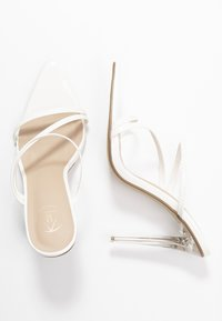 Missguided - TRIPLE STRAP - Mules à talons - white - 3