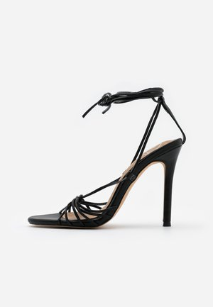 KNOTTED STRAPPY STILETTO - Sandales à talons hauts - black
