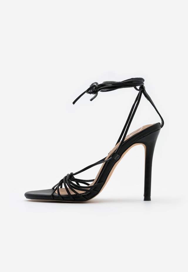 KNOTTED STRAPPY STILETTO - High heeled sandals - black