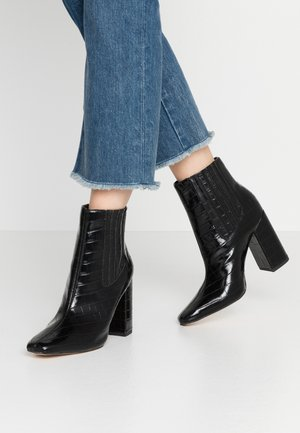 COVERED GUSSET - High heeled ankle boots - black