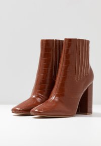 Missguided - COVERED GUSSET - High heeled ankle boots - brown - 4