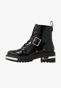 Missguided - METAL DETAIL HIKING BOOT - Platform ankle boots - black - 1