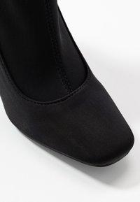 Missguided - STILETTO SQUARE TOE SOCK BOOT - Stivaletti con tacco - black - 2