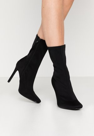 STILETTO SQUARE TOE SOCK BOOT - High heeled ankle boots - black