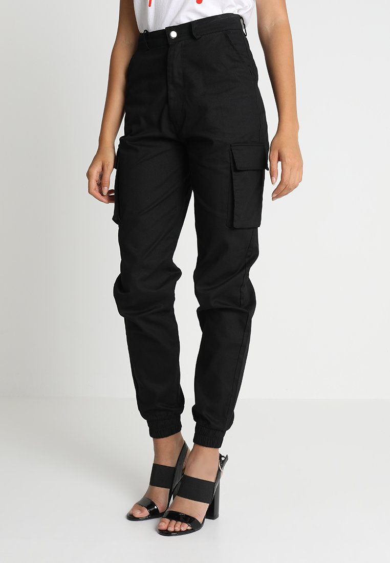Missguided - PLAIN CARGO TROUSER SAND - Kangashousut - black