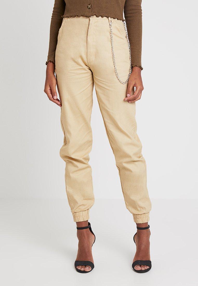 Missguided - CHAIN TROUSER - Spodnie materiałowe - beige