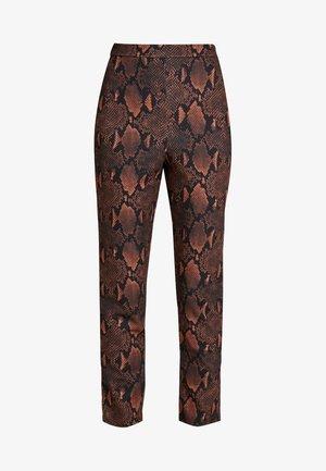ANIMAL SNAKE PRINT TROUSERS - Kalhoty - brown