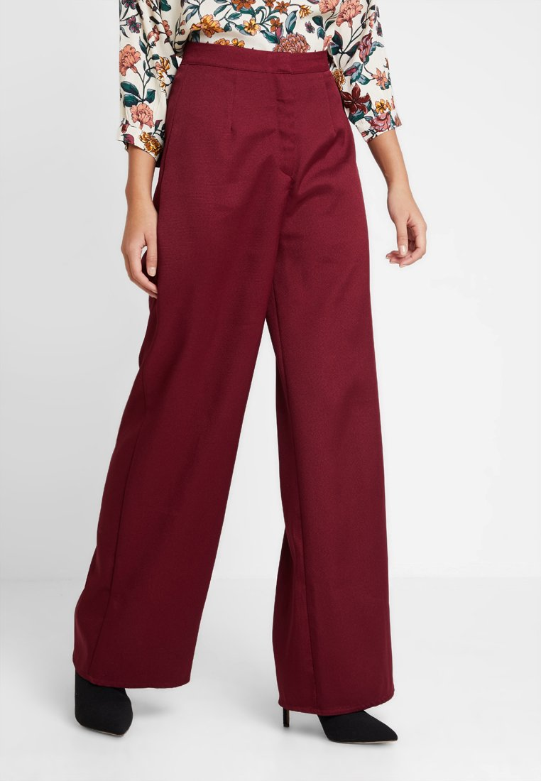 Missguided - WIDE LEG TROUSER - Pantaloni - tawny port