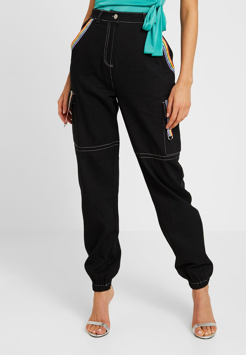 Missguided - PRIDE RAINBOW STRIPE CUFFED TROUSER - Jeans Tapered Fit - black