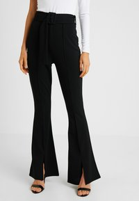 Missguided - BELTED SEAM FRONT TROUSERS - Bukse - black - 0