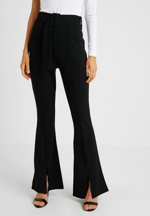 BELTED SEAM FRONT TROUSERS - Bukse - black