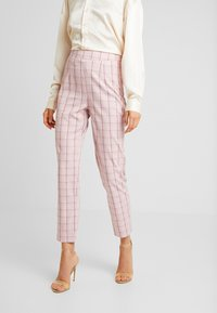 Missguided - CHECK CIGARETTE TROUSER - Pantalones - pink - 0