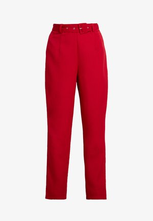 SELF FABRIC BELTED TROUSERS - Broek - red