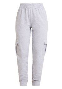 Missguided - UTILITY POCKET HIGH WAISTED JOGGERS - Pantalones deportivos - grey - 0