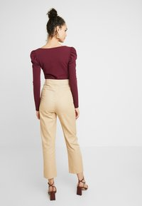 Missguided - HIGH WAISTED TROUSERS - Kangashousut - beige - 3