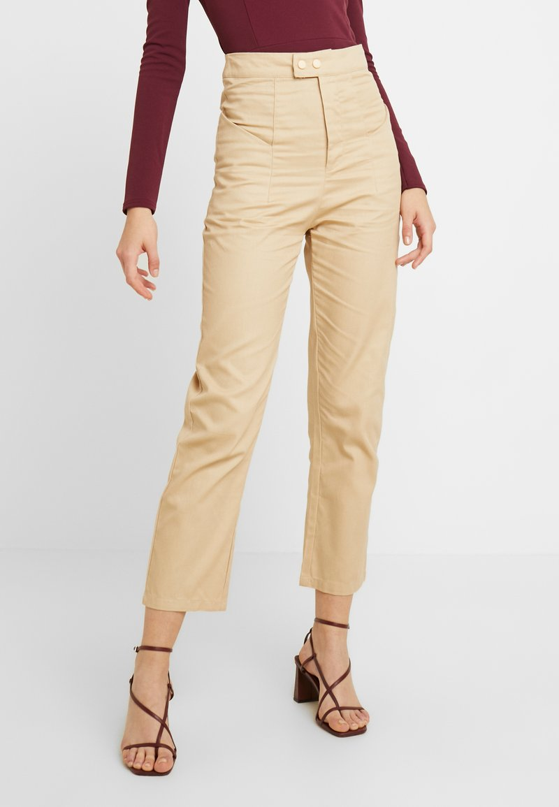 Missguided - HIGH WAISTED TROUSERS - Kangashousut - beige
