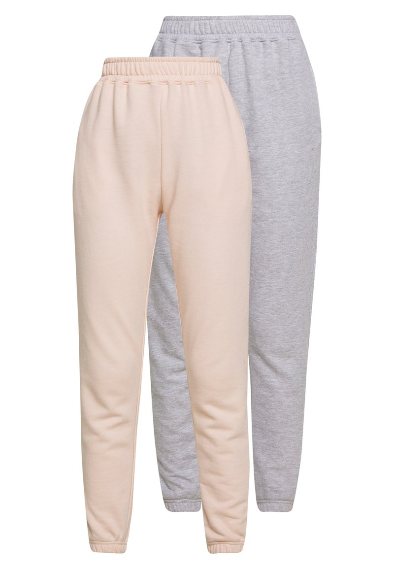 Missguided - 2 PACK BASIC JOGGER - Tracksuit bottoms - pink/grey