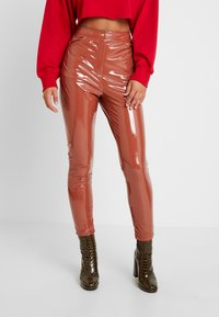 Missguided - HIGH WAISTED TROUSERS - Bukse - brown - 0
