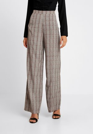 CHECK HIGH WAISTED TROUSERS - Pantalon classique - brown