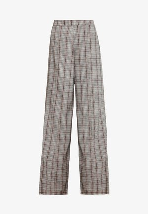 CHECK HIGH WAISTED TROUSERS - Pantalones - brown