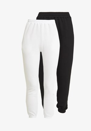 2 PACK BASIC JOGGERS - Tracksuit bottoms - white/black