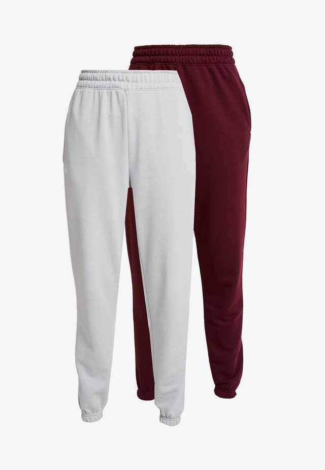 2 PACK BASIC JOGGERS - Verryttelyhousut - grey/burgundy