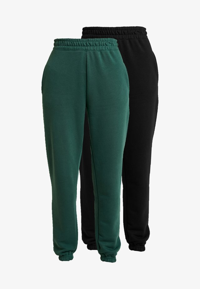 2 PACK BASIC JOGGERS - Trainingsbroek - black/green