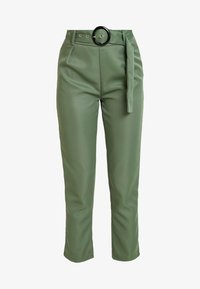 Missguided - BELTED HIGH WAISTED CIGARETTE TROUSERS - Pantalon classique - green - 3