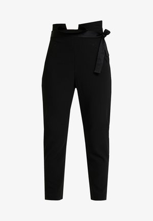 FRIDAY PAPER BAG TIE WAIST CIGARETTE TROUSERS - Tygbyxor - black