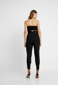 Missguided - FRIDAY PAPER BAG TIE WAIST CIGARETTE TROUSERS - Pantalones - black - 2