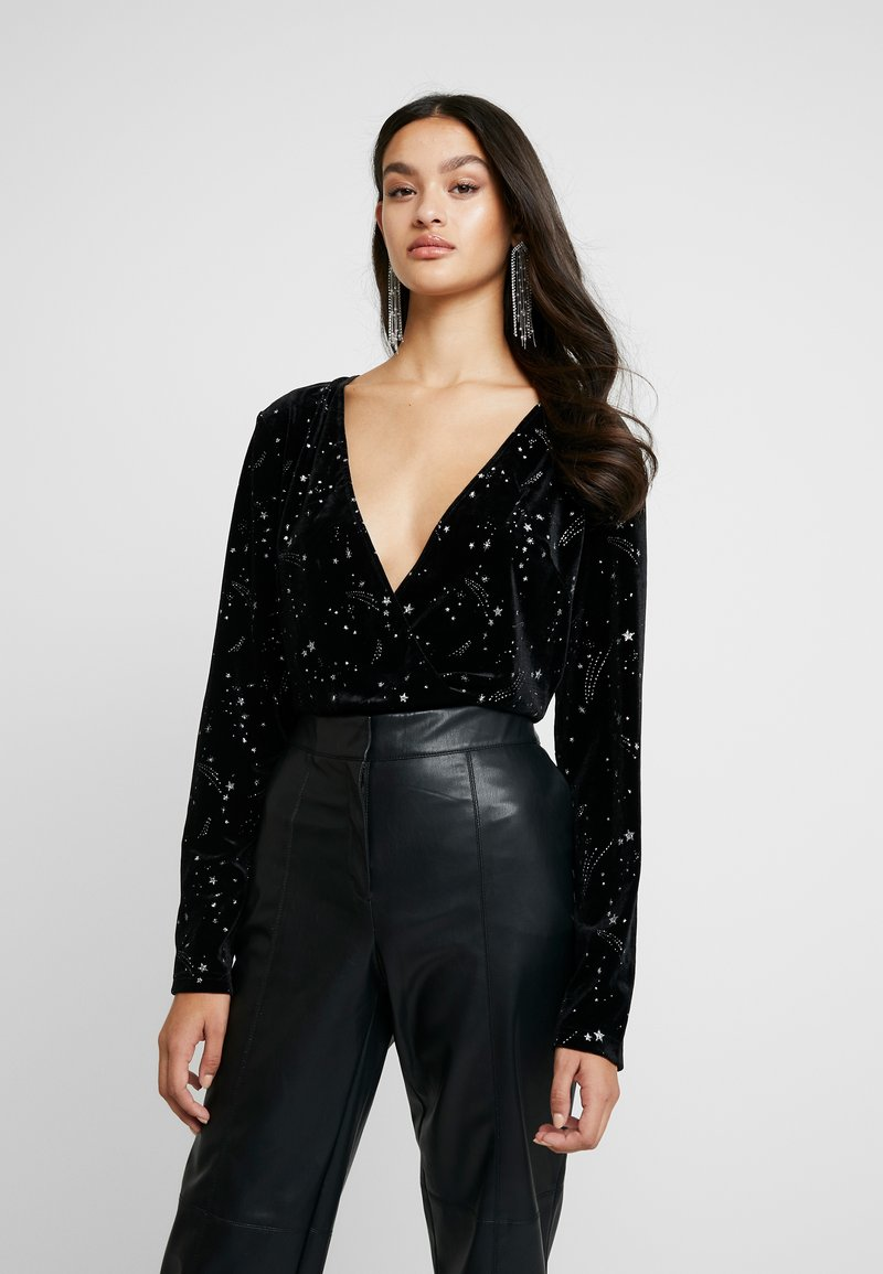 Missguided - LIGHT MAGIC STAR PLUNGE WRAP BODYSUIT - Top s dlouhým rukávem - black