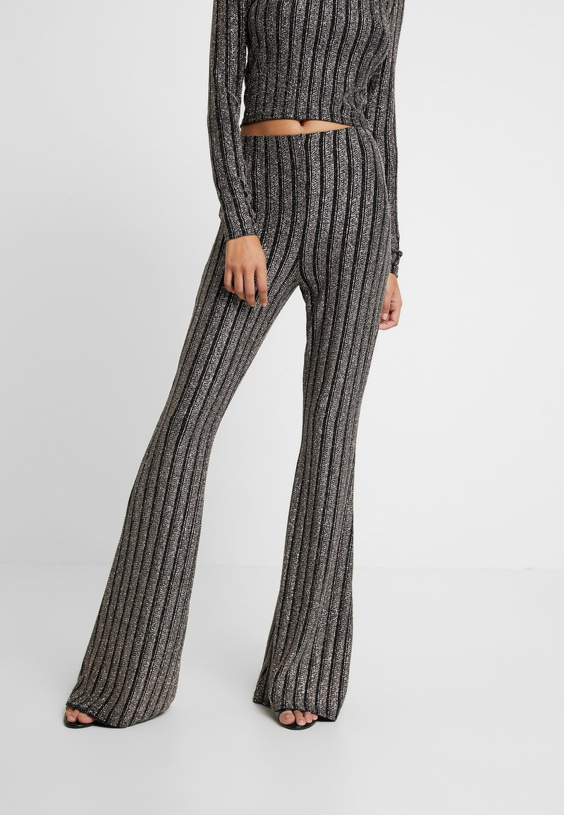 Missguided - LIGHT MAGIC SPARKLE STRIPED FLARED TROUSERS - Kalhoty - black