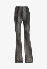 Missguided - LIGHT MAGIC SPARKLE STRIPED FLARED TROUSERS - Kalhoty - black - 3