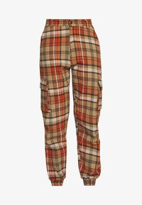 Missguided - CHECKED HIGH WAISTED CUFFED JOGGERS - Bukse - orange - 4