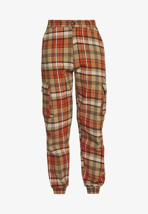 CHECKED HIGH WAISTED CUFFED JOGGERS - Spodnie materiałowe - orange
