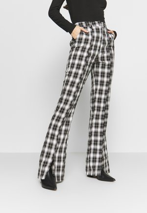 HAYDEN WILLIAMS CHECK STRAIGHT LEG TROUSER - Trousers - black