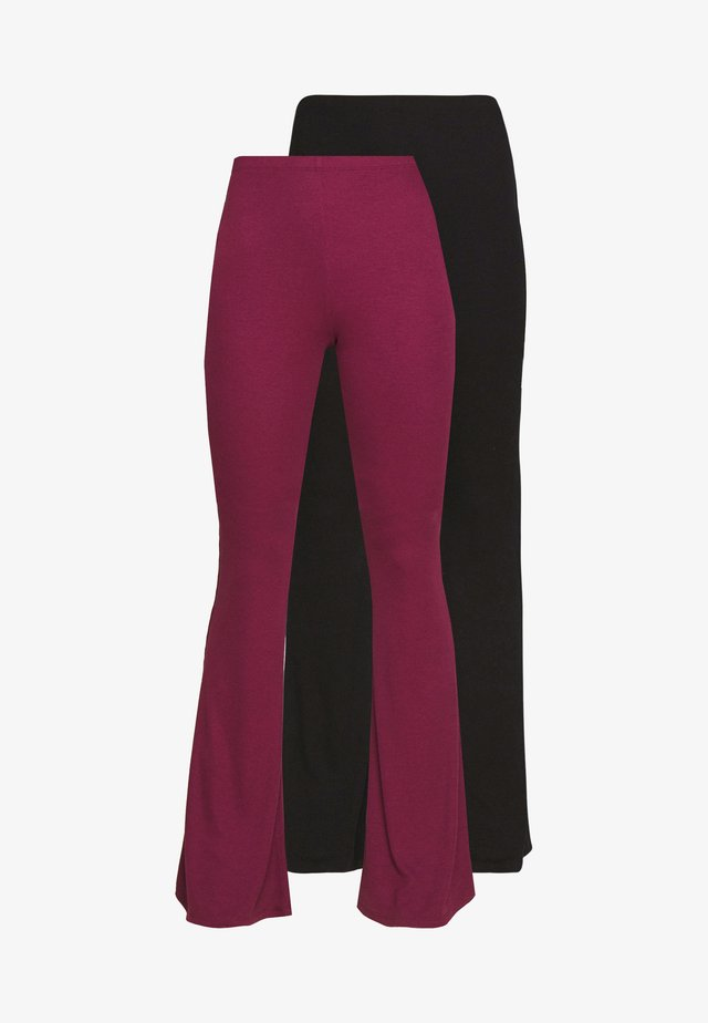 2 PACK  FLARE - Pantalones - black/burgundy