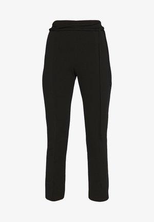TIE BELTED CIGARETTE TROUSERS - Pantalones - black